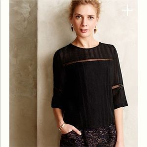 Anthropologie HD Paris Black Tracery Top
